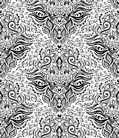 Vector black and white decorative royal seamless floral ornament Vectores