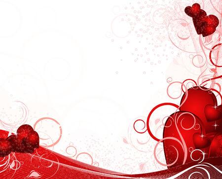 Weiße Valentines Hintergrund mit Herz, Muster, Ornament und Sterne