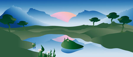 Vector landscape with a lake, mountains and sunset Vector
