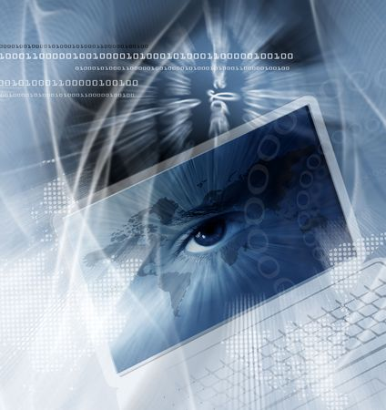Technology background with computer, a world map and the eye