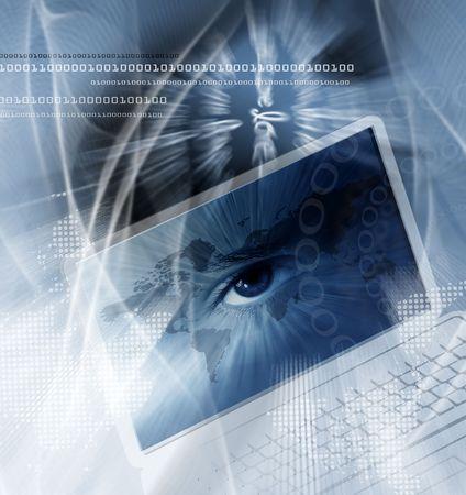 Atlas: Technologie-Hintergrund mit Computer, eine Weltkarte und das Auge