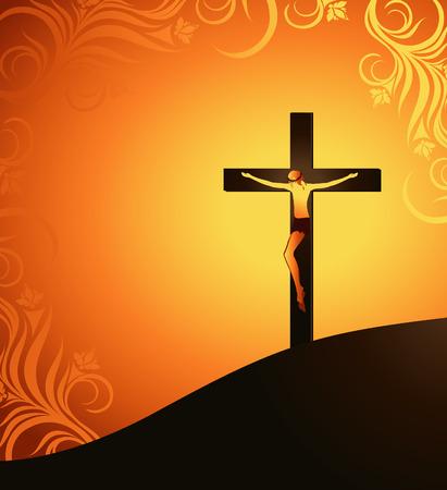 kruzifix: Jesus Christus on a Background of the Sun