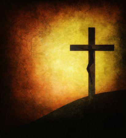 grunge cross: Ges� Cristo su fondo grunge del sole