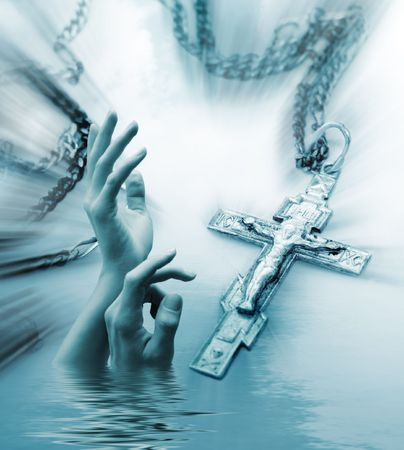 jesus clouds: Abstract religious background with the Christian cross and stretching hands to the sky