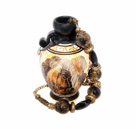 Beads and greek vase isolated on white background Stock Photo - 6568145