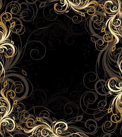 zwarte en gouden bloemen achtergrond met patroon Vector Illustratie