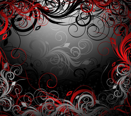 black, red and gold floral background with pattern