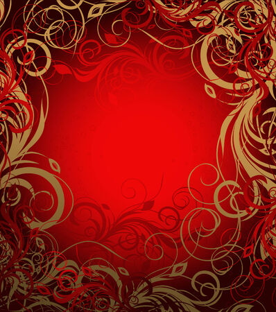 red and brown floral background with pattern Stock Vector - 6604969