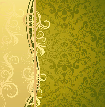 gold leaf: Illustration with decorative seamless royal ornament and floral wave