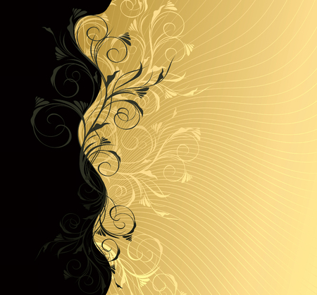 gold floral:  grey and gold floral background with pattern Illustration