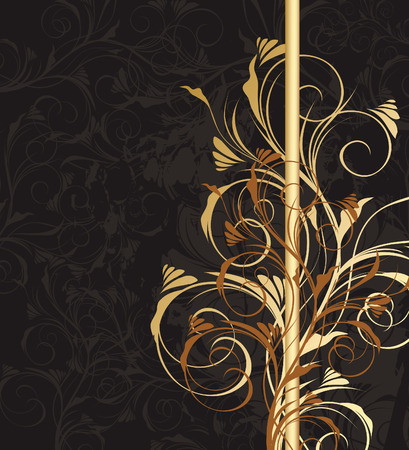 black and golden floral background with pattern