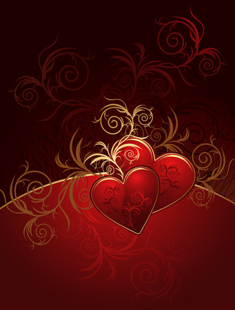 Red valentines background with hearts and ornament Vector