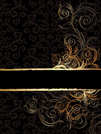 black and golden floral background for text with pattern
