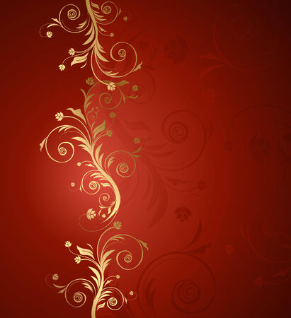 Vector red and golden floral background for text with pattern