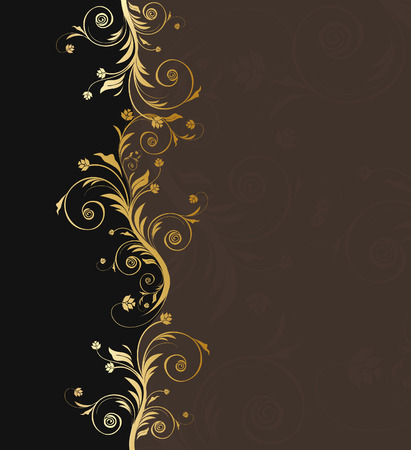 Vector black and golden floral background for text with pattern Vectores