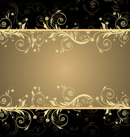 Vector black and gold floral background for text with pattern