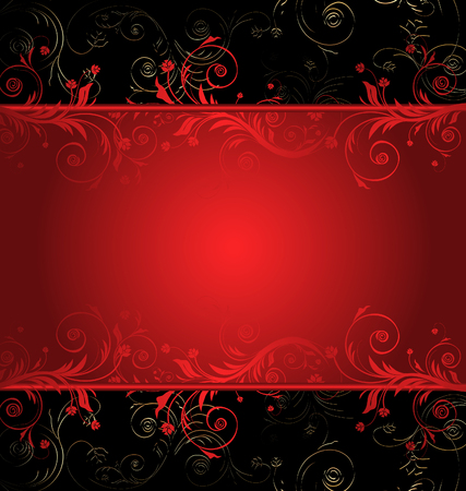 red swirls: Vector black and red floral background for text with pattern