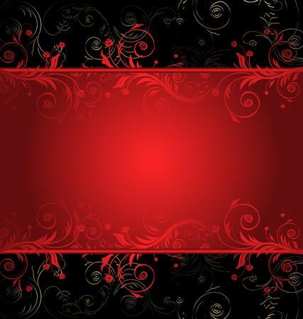 red swirl: Vettore di nero e rosso floral background per testo con pattern