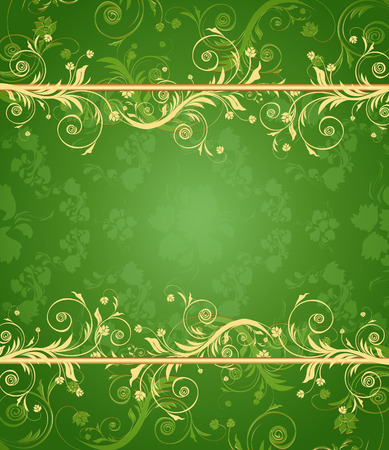 Green and gold floral background for text with pattern