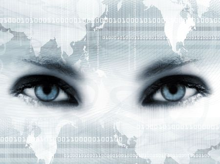 futuristic woman: Background with bue eyes, map and numbers Stock Photo