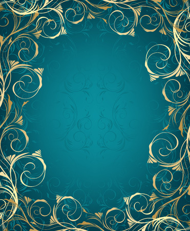 gold frame: Floral blue and gold frame with decorative ornament Illustration