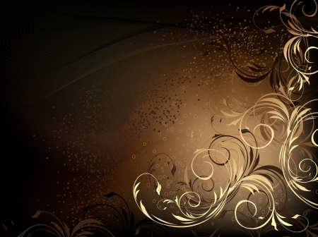 brown background: black and gold floral background with pattern