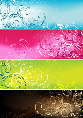 flower banner: decorative colorful floral design banners