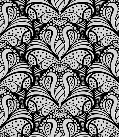 black and gray decorative seamless floral ornament Vector