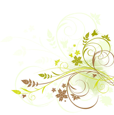 Grunge brown and green floral background with butterfly Stock Vector - 6995106