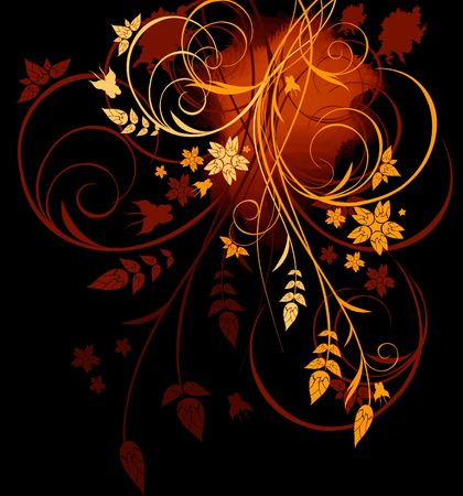 Grunge black, red and yellow floral background with butterfly