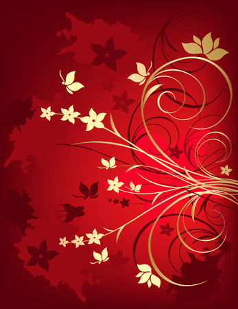 Grunge red and gold floral background with butterfly Vector