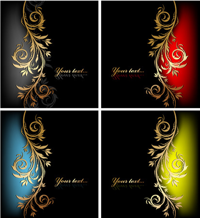 gold swirls: decorative colorful design backgrounds with floral wave