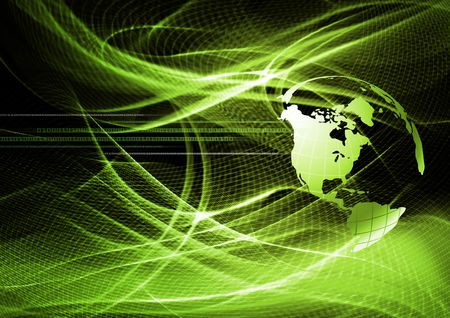 elegantly: Abstract modern background with futuristic green waves Stock Photo