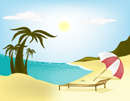 loungers: Illustration sea, beach, palm trees and sun loungers with umbrella
