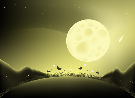 fireflies: Illustrated with a large full moon with a silhouette of mountains, butterflies and fireflies