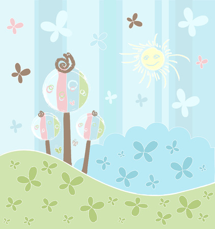 Art decorative background with nature design and flowers Vector
