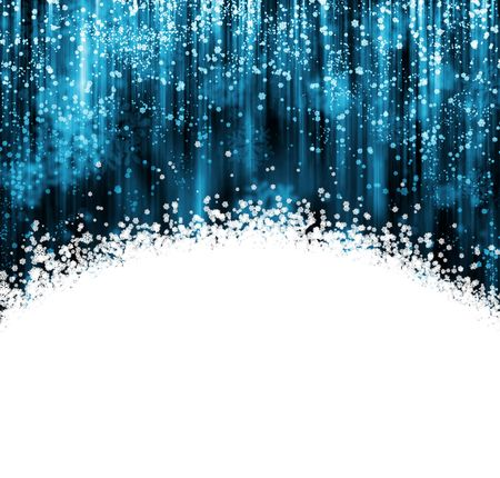 Blue and white Christmas background with snowflakes falling