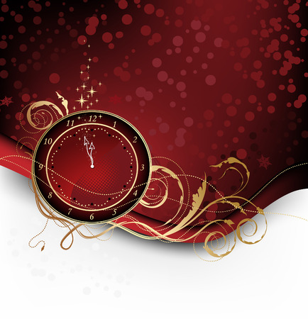 winter time: Red Christmas background with candy, stars and clock