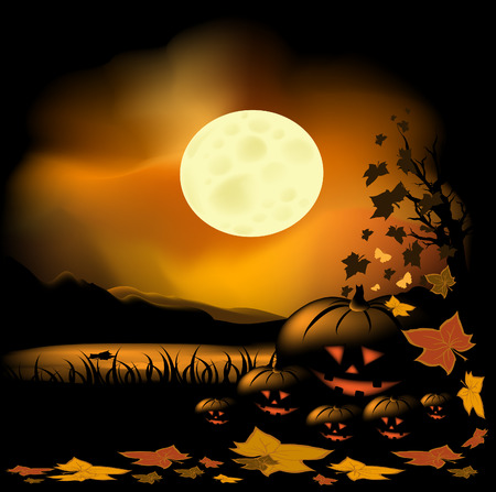 Halloween background with pond, moon and pumpkin