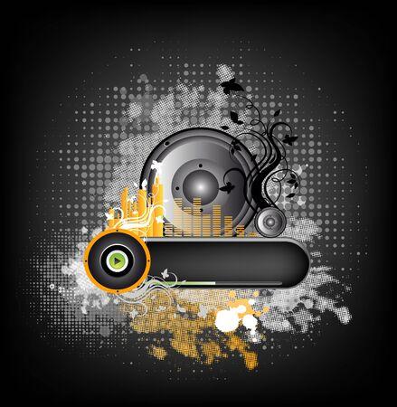 Grunge illustration with music design and ornate elements Stock Illustration - 7919323