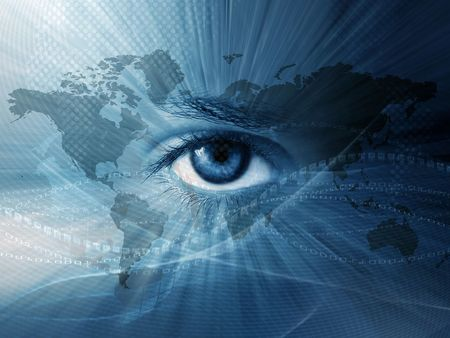 Continental  abstract wallpaper with world map and blue eye photo