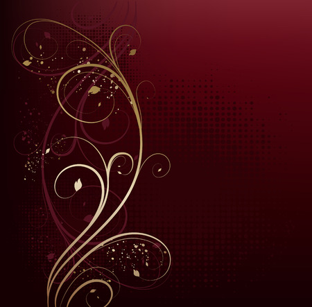 Vector red and gold beauty floral background