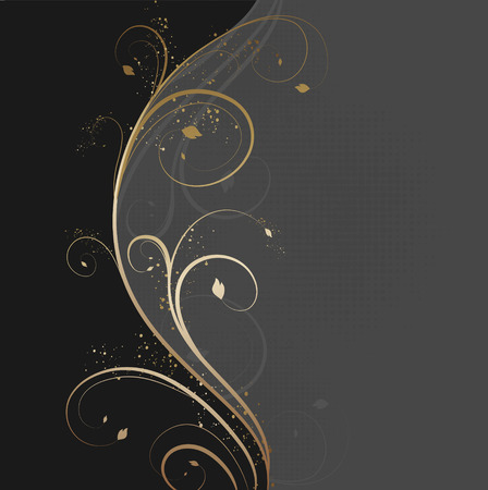 floral scroll: Vector design background with floral golden wave
