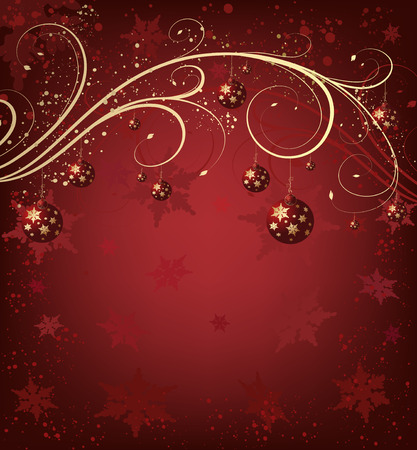Christmas red background with balls and snowflakes