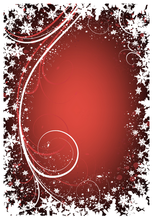 greeting card background: Red Christmas background with winter ornate and snowflakes Illustration