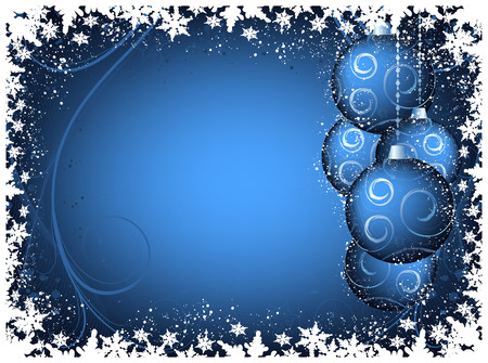 Blue Christmas background with balls and snowflakes