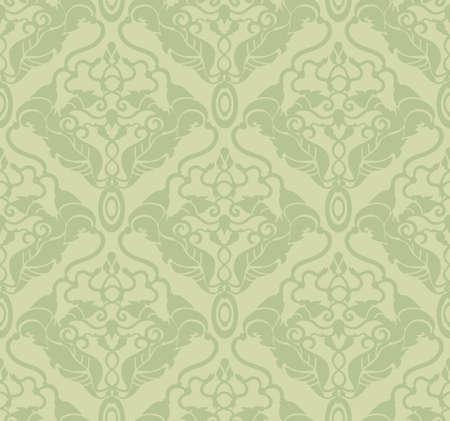 Decorative vector green seamless floral ornament Vector