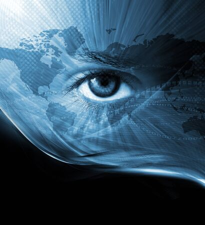 virtual world: Abstract modern background with eye and map Stock Photo