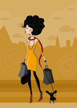 Fashion lady on the walk to the shops with a small dog