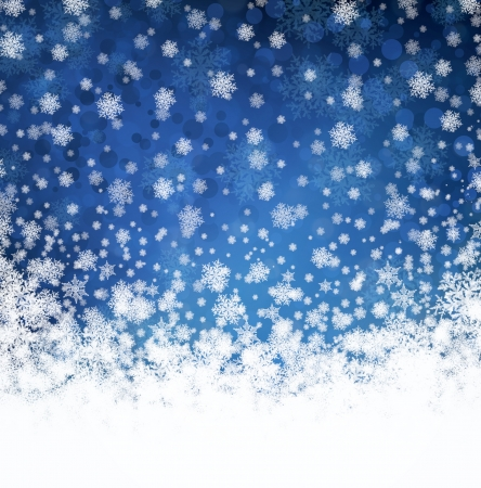 Raster winter blue and white background with snowflakes Stock Photo
